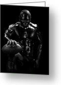Football Photo Greeting Cards - Al Fotball Black and White 1 Greeting Card by Val Black Russian Tourchin