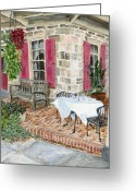 Carversville Greeting Cards - Al Fresco at The Carversville Inn Greeting Card by Margie Perry