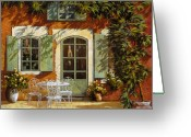 Shadows Greeting Cards - Al Fresco In Cortile Greeting Card by Guido Borelli