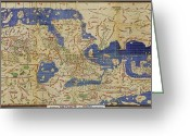 1100s Greeting Cards - Al Idrisi World Map 1154 Greeting Card by SPL and Photo Researchers