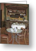 Cafe Greeting Cards - Al Lume Di Candela Greeting Card by Guido Borelli