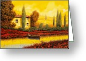 Country Painting Greeting Cards - Al Tramonto Sul Fiume Greeting Card by Guido Borelli
