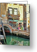 Places In Venice.venecia.venezia.venice Greeting Cards - Al Valporetto-Venice Italy Greeting Card by Tom Prendergast