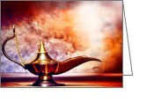 Nights Greeting Cards - Aladdin Lamp Greeting Card by Olivier Le Queinec