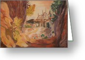 Orange Pastels Greeting Cards - Aladdins Kingdom Greeting Card by Serran Dalmak