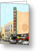Movie Theater Greeting Cards - Alameda Theater Greeting Card by Wingsdomain Art and Photography
