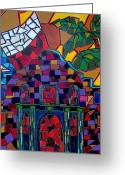 Alamo Greeting Cards - Alamo Mosaic Greeting Card by Patti Schermerhorn