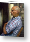 Deep In Thought Painting Greeting Cards - Alan In His Studio Greeting Card by Victor Zucconi