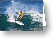 Hawaiian Greeting Cards - Alana Blanchard Surfing Hawaii Greeting Card by Paul Topp