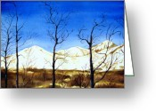 Kodiak Painting Greeting Cards - Alaska Blue Sky Day  Greeting Card by Brenda Owen