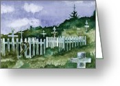 Kodiak Painting Greeting Cards - Alaska Graveyard  Greeting Card by Brenda Owen