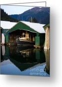 Harbor Living Greeting Cards - Alaskan Boat Parking Greeting Card by Darcy Michaelchuk