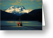 Skagway Greeting Cards - Alaskan Cruise Greeting Card by Helen Carson