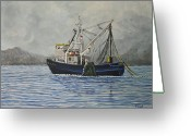 Offshore Greeting Cards - Alaskan Fishing Greeting Card by Reb Frost