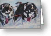 L.a.shepard Greeting Cards - Alaskan Malamute strong and steady Greeting Card by L A Shepard