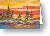 Forest Pastels Greeting Cards - Alaskan Skies Greeting Card by Marion Rose