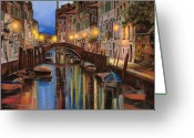 Green Painting Greeting Cards - alba a Venezia  Greeting Card by Guido Borelli