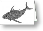 Tribal Drawings Greeting Cards - Albacore Greeting Card by Carol Lynne