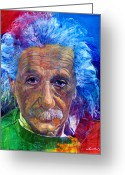  Celebrity Portaits Greeting Cards - Albert Einstein Greeting Card by David Lloyd Glover
