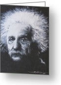 Albert Drawings Greeting Cards - Albert Einstein Greeting Card by Eric Dee