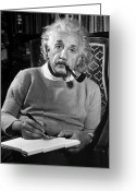 House Tapestries Textiles Greeting Cards - Albert Einstein Greeting Card by Granger