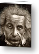 Albert Drawings Greeting Cards - Albert Einstein-Millenium Man Greeting Card by Lee Appleby