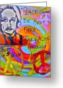 Conservative Greeting Cards - Albert Einstein PEACE Greeting Card by Tony B Conscious
