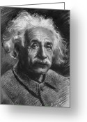 Albert Drawings Greeting Cards - Albert Einstein Greeting Card by Ylli Haruni