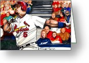 Cardinals World Series Greeting Cards - Albert Pujols Greeting Card by Dave Olsen