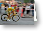 Bike Rider Greeting Cards - Alberto Contador speed Greeting Card by Odd Jeppesen