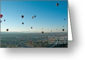 Balloon Festival Greeting Cards - Albuquerque View Greeting Card by Jim Chamberlain
