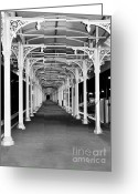 Undercover Greeting Cards - Albury Station - Long Undercover Platform Greeting Card by Kaye Menner