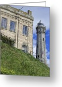 Alcatraz Light House Greeting Cards - ALCATRAZ CELL HOUSE and LIGHTHOUSE Greeting Card by Daniel Hagerman