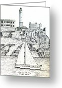 Historic Lighthouse Drawings Greeting Cards - Alcatraz Island Greeting Card by Frederic Kohli