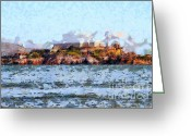 Light Houses Greeting Cards - Alcatraz Island in San Francisco California . 7D14031 Greeting Card by Wingsdomain Art and Photography