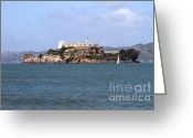 Alcatraz Light House Greeting Cards - Alcatraz Island in San Francisco California . South Side . 7D14288 Greeting Card by Wingsdomain Art and Photography
