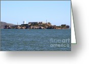 Light Houses Greeting Cards - Alcatraz Island in San Francisco California . West Side . 7D14007 Greeting Card by Wingsdomain Art and Photography