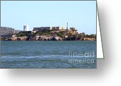 Alcatraz Light House Greeting Cards - Alcatraz Island in San Francisco California . West Side . 7D14031 Greeting Card by Wingsdomain Art and Photography