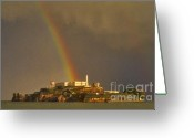 Alcatraz Light House Greeting Cards - Alcatraz Island San Francisco Bay  Greeting Card by Nancy Hoyt Belcher