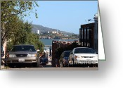 Alcatraz Greeting Cards - Alcatraz Island Through The Hyde Street Pier in San Francisco California . 7D13973 Greeting Card by Wingsdomain Art and Photography