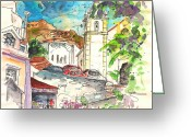 Esquisse Greeting Cards - Alcoutim in Portugal 02 Greeting Card by Miki De Goodaboom