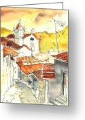 Esquisse Greeting Cards - Alcoutim in Portugal 06 Greeting Card by Miki De Goodaboom