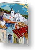 Esquisse Greeting Cards - Alcoutim in Portugal 08 bis Greeting Card by Miki De Goodaboom