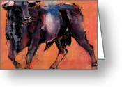 Horns Painting Greeting Cards - Alcurrucen Greeting Card by Mark Adlington