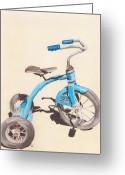 Grey Drawings Greeting Cards - Alders Bike Greeting Card by Glenda Zuckerman