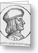 Italic Font Greeting Cards - Aldus Manutius, Italian Printer Greeting Card by Middle Temple Library