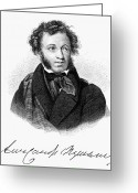 Cyrillic Greeting Cards - Aleksandr Pushkin Greeting Card by Granger