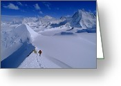 Precipitation Greeting Cards - Alex Lowe On Mount Bearskin 2850 M Greeting Card by Gordon Wiltsie