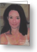 Dark Hair Pastels Greeting Cards - Alex Greeting Card by Stephen Cheek II