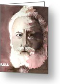 Monotone Painting Greeting Cards - Alexander Graham Bell Greeting Card by Arline Wagner